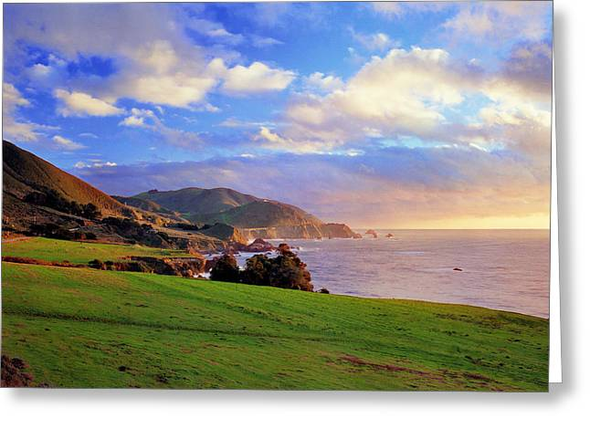 Coast Highway One Greeting Cards - Pasture Big Sur Coast Greeting Card by Edward Mendes
