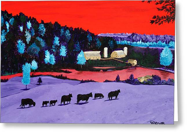 Pastures And Pond Greeting Card by Randall Weidner