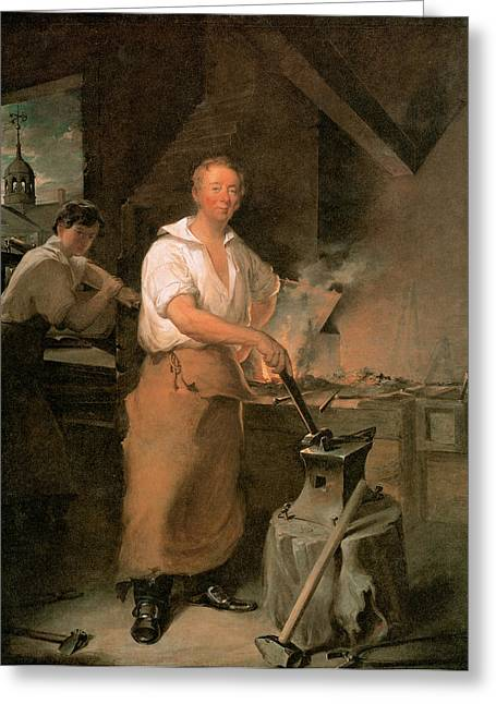 Smithy Greeting Cards - Pat Lyon at the forge Greeting Card by John Neagle