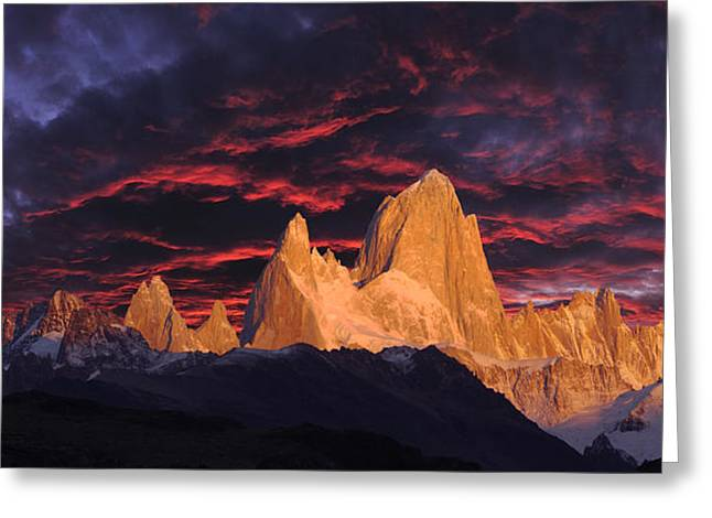 """high Peaks"" Greeting Cards - Patagonia Sky Greeting Card by Christian Heeb"