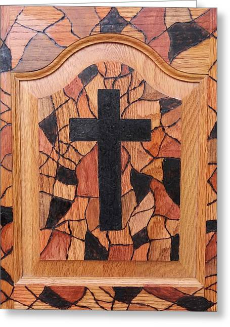 Christ Pyrography Greeting Cards - Patchwork and Cross Greeting Card by Lisa Brandel