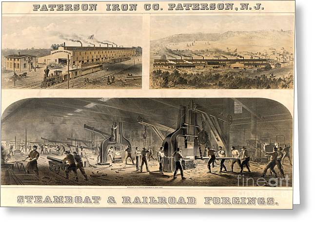 Metalworker Greeting Cards - Paterson Iron Company Greeting Card by Granger