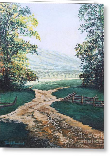 Smoky Paintings Greeting Cards - Path from the Cabin Greeting Card by Todd A Blanchard