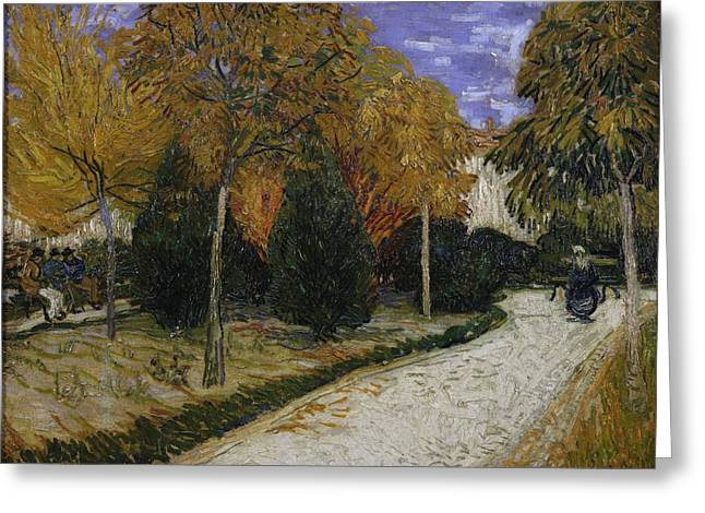 Arles Greeting Cards - Path in the Park at Arles Greeting Card by Vincent Van Gogh