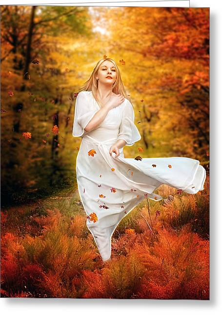 Fall Digital Art Greeting Cards - Path of Fall Greeting Card by Karen K