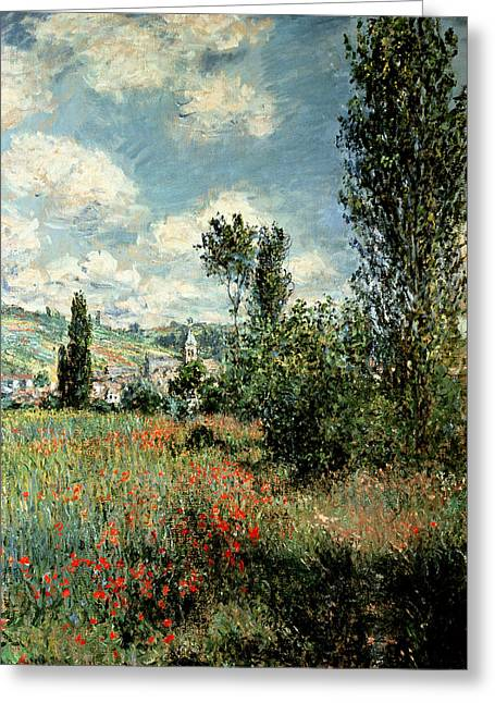 Trails Greeting Cards - Path through the Poppies Greeting Card by Claude Monet
