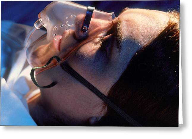 Unconsciousness Greeting Cards - Patient On Oxygen Greeting Card by Tony Mcconnell