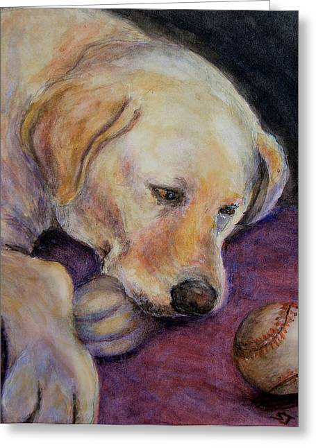 Pet Portraits Pastels Greeting Cards - Patiently Waiting Greeting Card by Susan Jenkins