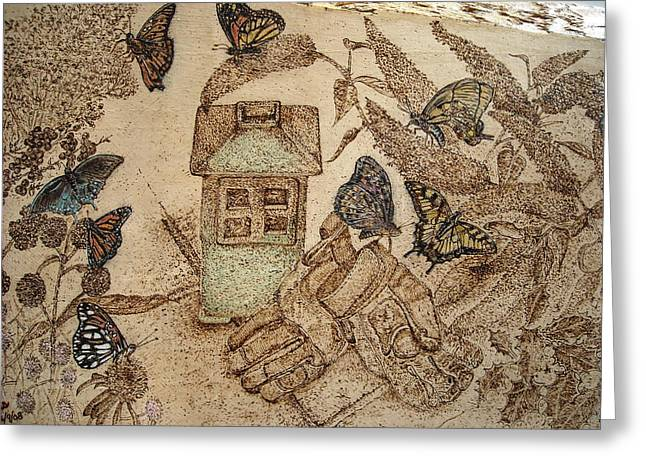 Glove Pyrography Greeting Cards - Patio Garden Greeting Card by Doris Lindsey