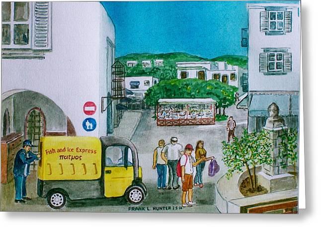 Monger Greeting Cards - Patmos fish monger Greeting Card by Frank Hunter