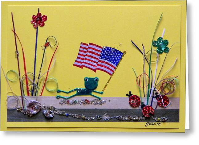 4th July Mixed Media Greeting Cards - Patriot Frog Greeting Card by Gracies Creations