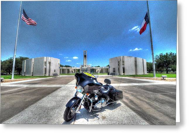 Half Staff Greeting Cards - Patriot Guard Rider at the Houston National Cemetery Greeting Card by David Morefield