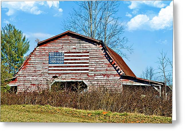 Susan Leggett Photographs Greeting Cards - Patriotic Barn Greeting Card by Susan Leggett