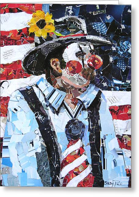 American Cowboy Artist Greeting Cards - Patriotic Clown Greeting Card by Suzy Pal Powell