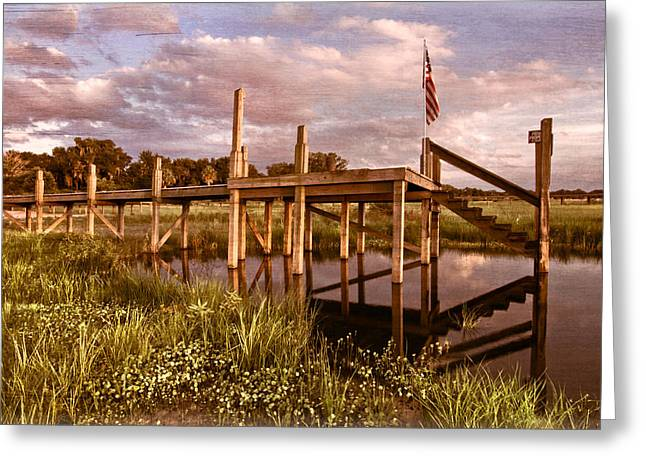 Wales Prints Greeting Cards - Patriotic Dock Greeting Card by Debra and Dave Vanderlaan
