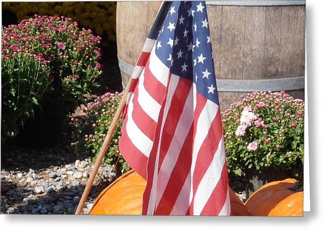 Patriotic Farm Stand Greeting Card by Kimberly Perry