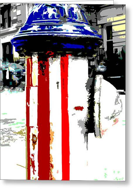 Flag Fire Hydrant Greeting Cards - Patriotic Fire Hydrant Greeting Card by Anahi DeCanio