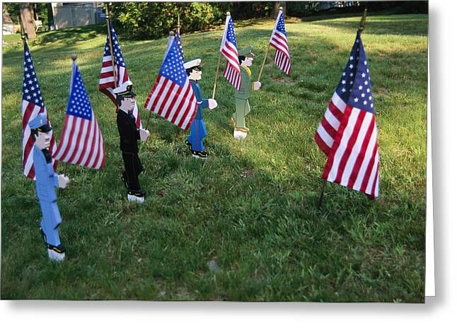 York Beach Greeting Cards - Patriotic Lawn Ornaments Represent Greeting Card by Stephen St. John