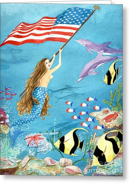 Swordfish Greeting Cards - Patriotic Mermaid Greeting Card by Pauline Ross