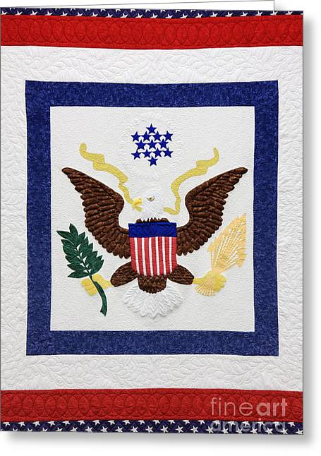 Patriotic Quilt Greeting Card by Jeremy Woodhouse