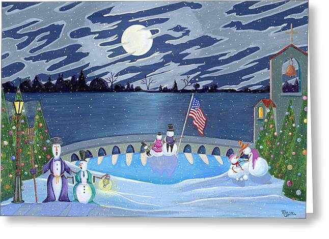 Christmas Art Greeting Cards - Patriotic Snowmen Greeting Card by Thomas Griffin