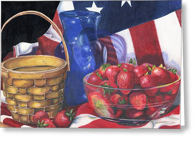 Glass Bowls Greeting Cards - Patriotic Strawberries Greeting Card by Angela Armano