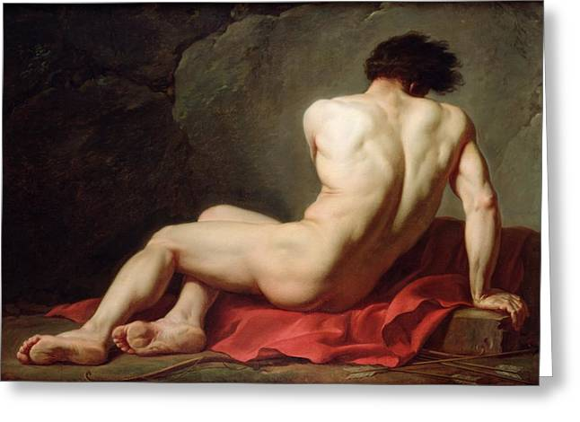 Patrocles Greeting Card by Jacques Louis David