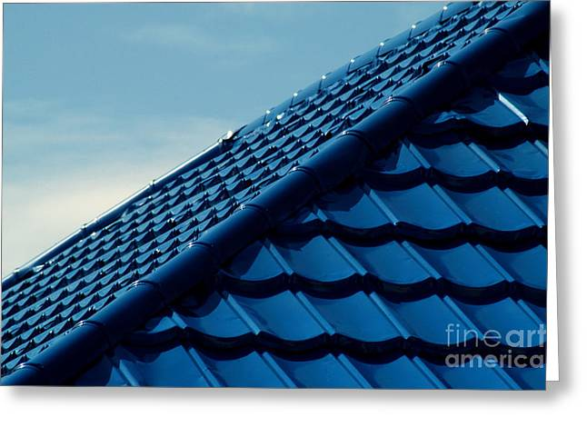 Metallic Sheets Greeting Cards - Pattern Of Blue Roof Tiles Greeting Card by Antoni Halim