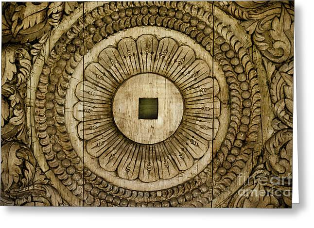 Wooden Sculpture Greeting Cards - Patterns Carved in Wood Greeting Card by Darcy Michaelchuk