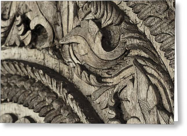 Wooden Sculpture Greeting Cards - Patterns Carved in Wood Up Close Greeting Card by Darcy Michaelchuk