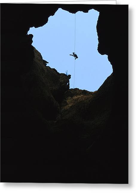 Risk Society Greeting Cards - Paul Aughey Climbs Out Of Funnel Cave Greeting Card by Stephen Alvarez