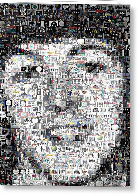 George Harrison Digital Art Greeting Cards - Paul McCartney Beatles Mosaic Greeting Card by Paul Van Scott