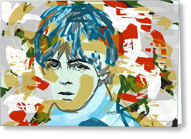 Mccartney Drawings Greeting Cards - Paul McCartney Greeting Card by Suzanne Gee