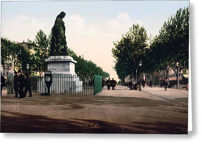 Paul Riquet Statue And The Allees In Beziers - France Greeting Card by International  Images