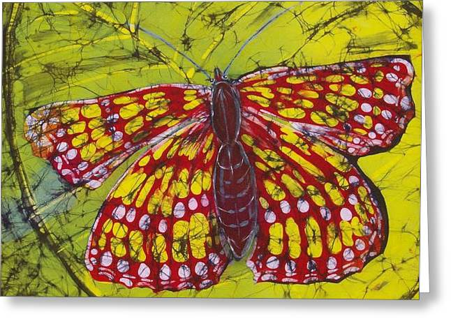 Fine Art Tapestries - Textiles Greeting Cards - Paulas Butterfly Greeting Card by Kay Shaffer
