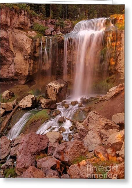 Newberry Greeting Cards - Paulina Falls Sunset Greeting Card by Adam Jewell