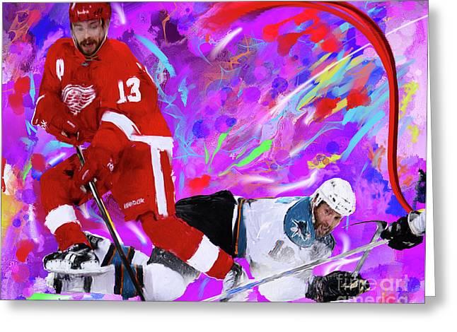 Hockey Paintings Greeting Cards - Pavel Datsyuk Greeting Card by Donald Pavlica