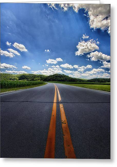 Double Yellow Line Greeting Cards - Pavement Approach Greeting Card by Bill Tiepelman