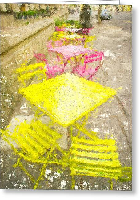 Al Fresco Greeting Cards - Pavement cafe painting Greeting Card by Tom Gowanlock
