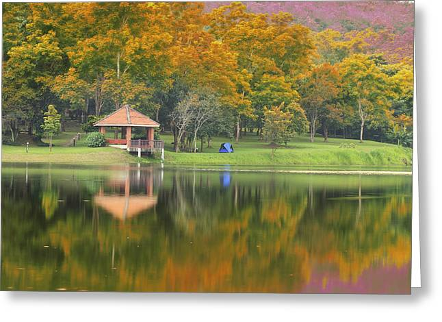 Reflex Greeting Cards - Pavillion in the autumn park  Greeting Card by Anek Suwannaphoom