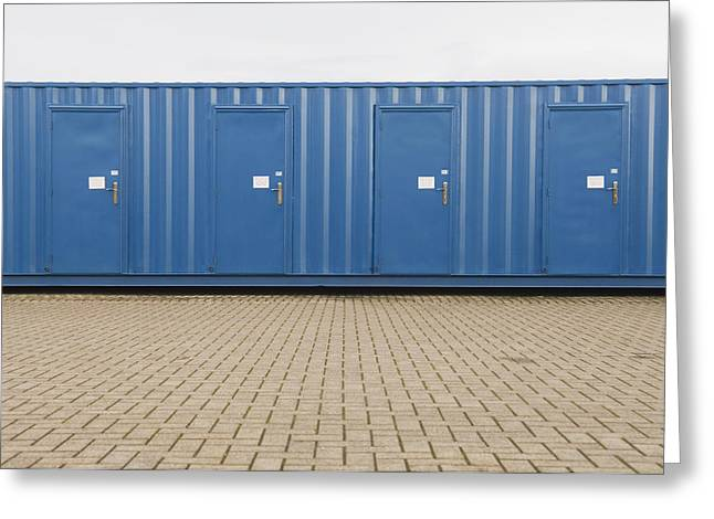 Repetition Greeting Cards - Paving Leading To Four Identical Blue Greeting Card by Iain  Sarjeant