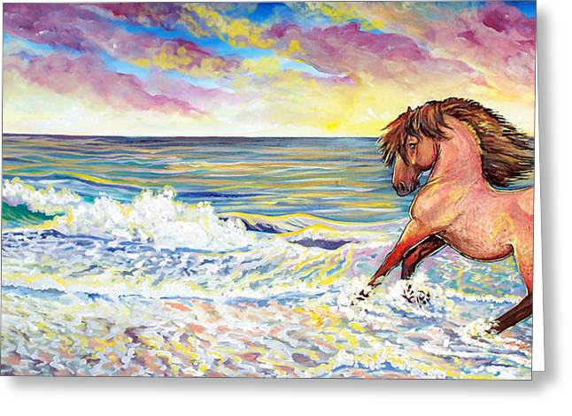 Jenn Cunningham Greeting Cards - Pawing the surf Greeting Card by Jenn Cunningham