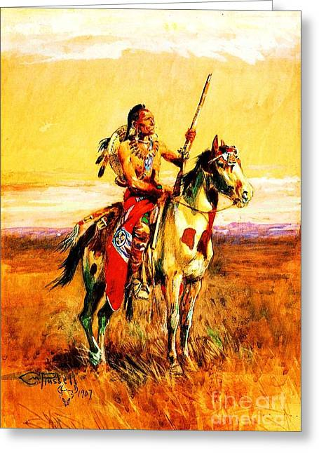 Old West Prints Greeting Cards - Pawnee Scout Greeting Card by Pg Reproductions