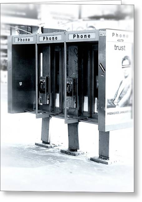 Pay Phones - Still In Nyc Greeting Card by Angie Tirado