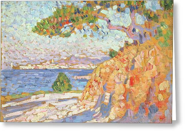 Blue Green Water Greeting Cards - Paysage du Midi Greeting Card by Theo van Rysselberghe