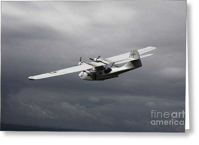 Haze Greeting Cards - Pby Catalina Vintage Flying Boat Greeting Card by Daniel Karlsson