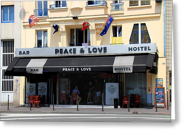 """peace And Love"" Greeting Cards - Peace and Love Hostel Greeting Card by Andrew Fare"