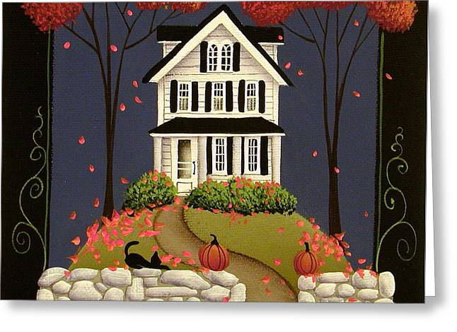 Autumn Autumn Folk Art Greeting Cards - Peace be to this house Greeting Card by Catherine Holman