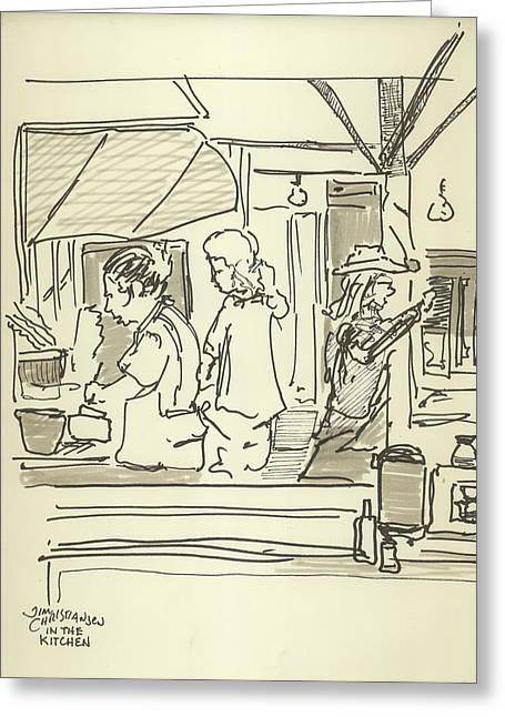 Cook Drawings Drawings Greeting Cards - Peace camp Saturday Kitchen Crew Greeting Card by James  Christiansen