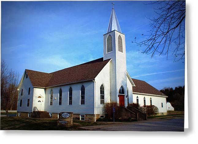 Hartsburg Greeting Cards - Peace Church Greeting Card by Cricket Hackmann